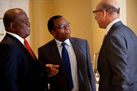From left: Majozi Vincent Sithole of Swaziland, Timothy Thahane of Lesotho, and Trevor Manuel of South Africa at an October 2013 roundtable for African finance ministers on ways to boost health systems