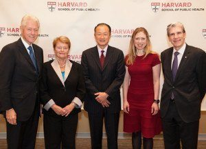 HSPH's medal winners, from left: Bill Clinton, Gro Brundtland, Jim Yong Kim, Chelsea Clinton, with Dean Frenk (right).