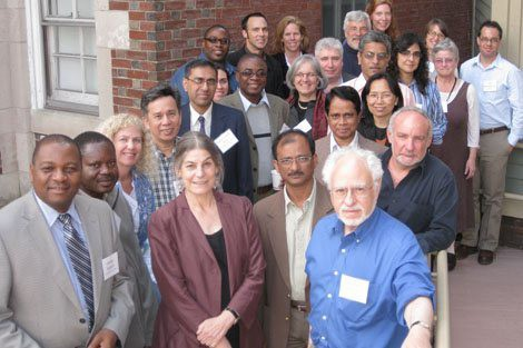 Lisa Berkman (front, center) and HAALSI co-principal investigator Stephen Tollman (second row, right, in black), with INDEPTH researchers and affiliates at the Pop Center.