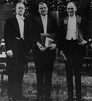 HSPH's Thomas Weller, left, with Frederick Robbins, center, and John Enders received the 1954 Nobel Prize in Physiology or Medicine for discovering new methods to cultivate the poliovirus.