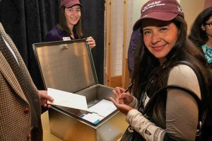 Partygoers added messages to the Centennial time capsule
