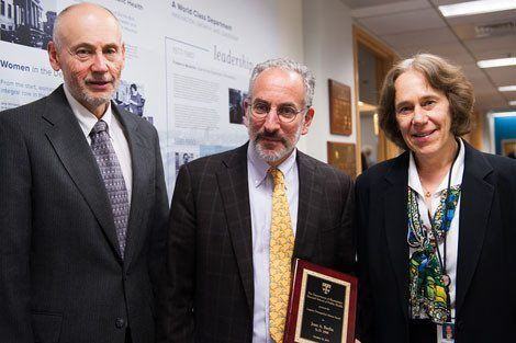Jesse Berlin (center), ScD '88, poses with Victor De Gruttola and Dianne Finkelstein of the Department of Biostatistics