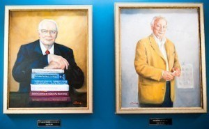 Paintings of former biostatistics chairs Frederick Mosteller (left) and Marvin Zelen