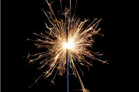 A simple sparkler in the dark.