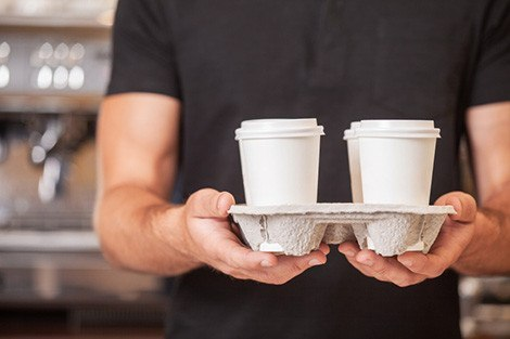 Coffee cups in a tray