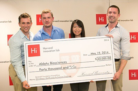 Aldatu Biosciences team members Gregory Price, Iain MacLeod, Hann-Shuin Yew, and David Raiser