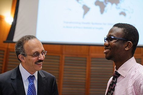 Wafaie Fawzi, chair of the Department of Global Health and Population, with fellowship recipient Abayomi Ajala, MPH '14