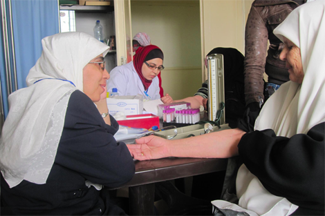 Health monitoring at a clinic in Jordan