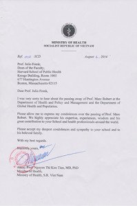 Condolence letter from Minister of Health, Vietnam
