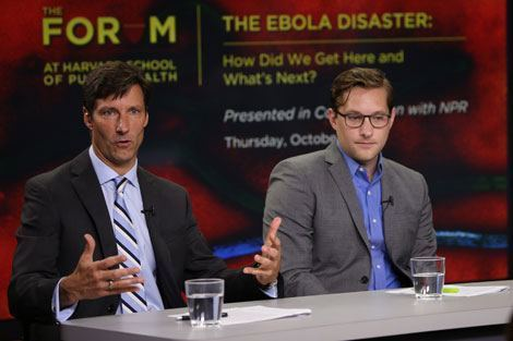 Michael VanRooyen (l) speaking at a recent Ebola panel