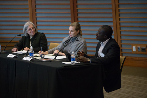 Left to right: Professor Dyann Wirth, Eliza Petrow, and Samuel Asiedo Agyei discuss the NetsforLife project.