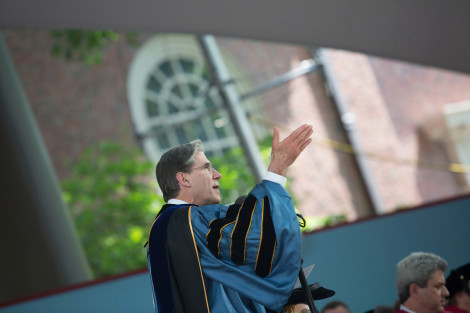 During the Harvard Commencement, HSPH Dean Julio Frenk confers degree in the Tercentenary Theatre at Harvard University. Kris Snibbe/Harvard Staff Photographer