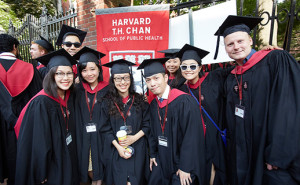 Students at the morning Commencement ceremony in Harvard Yard