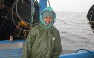 Postdoctoral fellow Amina Schartup, the paper's first author, on Lake Melville.