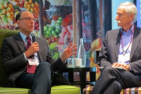 David Ludwig (left) speaks on a panel with Walter Willett during the Oldways Finding Common Ground conference.