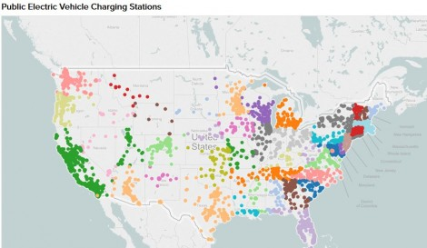 A map showing the location of public electric vehicle charging stations in the  United States; see the interactive map below. Source: U.S. Department of Energy