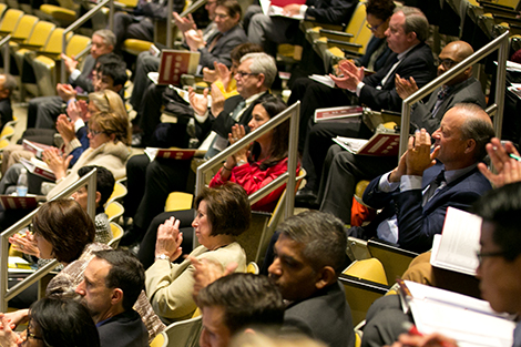 Audience members applaud speakers at the Building A Culture of Health: A New Imperative for Business conference.