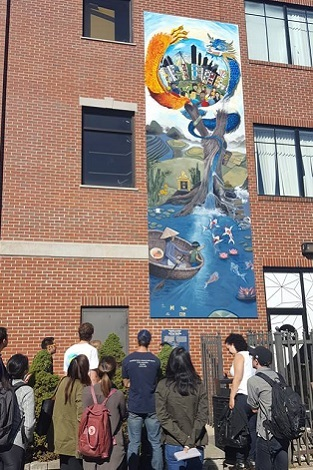 students view mural