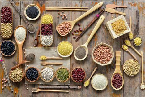 A spread of whole grains, legumes, and other nutritious food.