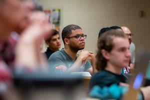 Audience members listen to the Yerby Diversity Lecture