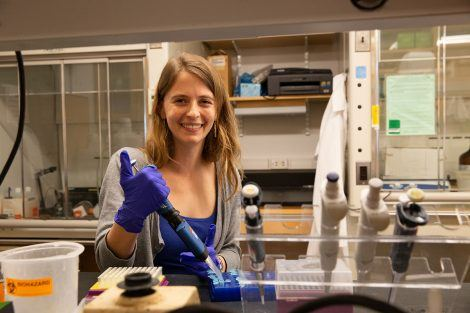 A picture of Allison Andraski in the lab.