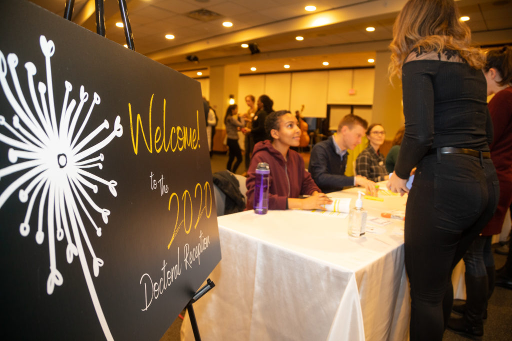 Students at registration table