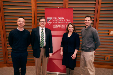Timothy Rebbeck, second from left, with PEER Award recipients Xuehong Zhang (left), Lorelei Mucci, and Jeffrey Miller