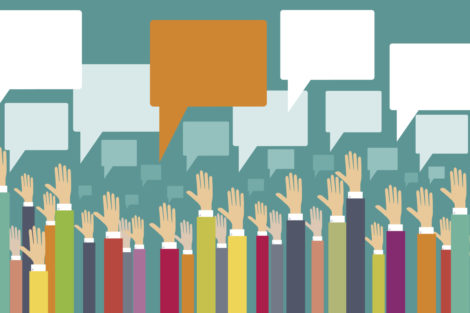 raised hands with speech bubbles