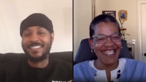 Video still of Carmelo Anthony and Harvard Chan School Dean Michelle Williams