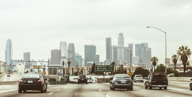 Highway with city in background