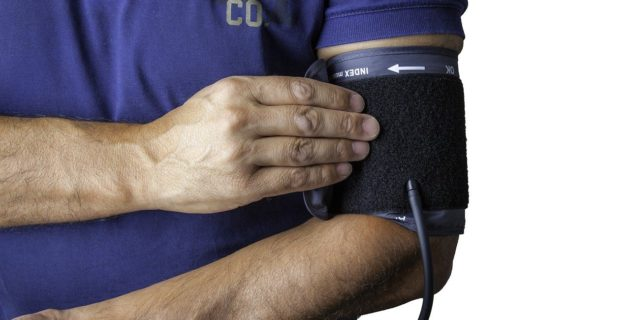 Blood pressure monitor on an arm