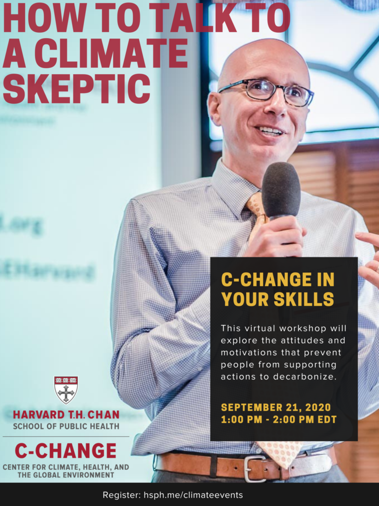 Flyer for how to talk to a climate skeptic workshop