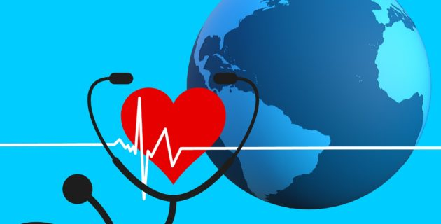 Planet, heart, and stethoscope