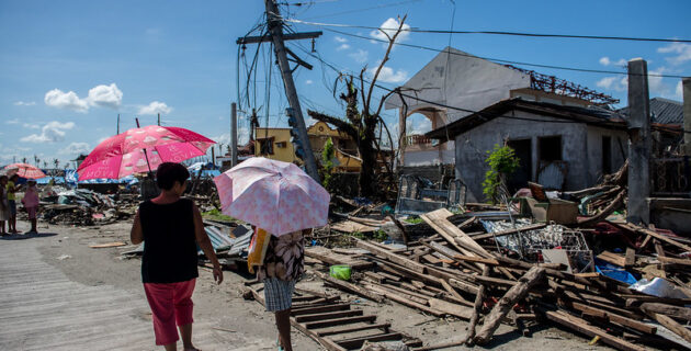 Houses destroyed by Typhoon Haiyan