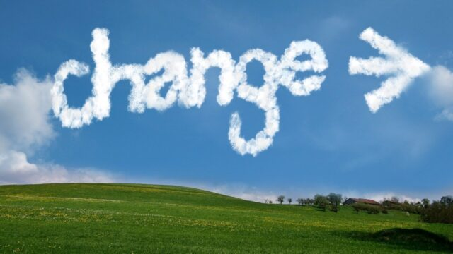 "Clouds spelling ""change"""