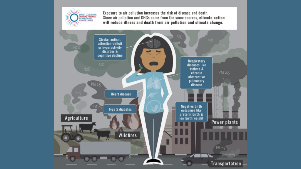 Air pollution effects illustration