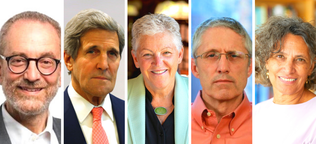 Panel of headshots from Howard Frumkin, John Kerry, Gina McCarthy, Jeff Nesbit, and Mary Bassett