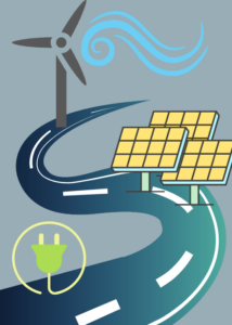 Different types of renewable energy placed along a road
