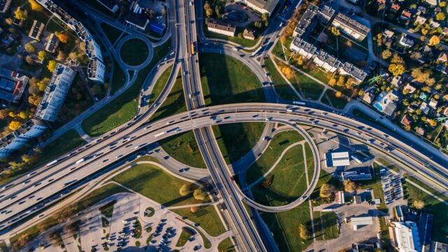 A birds eye view of traffic on a highway