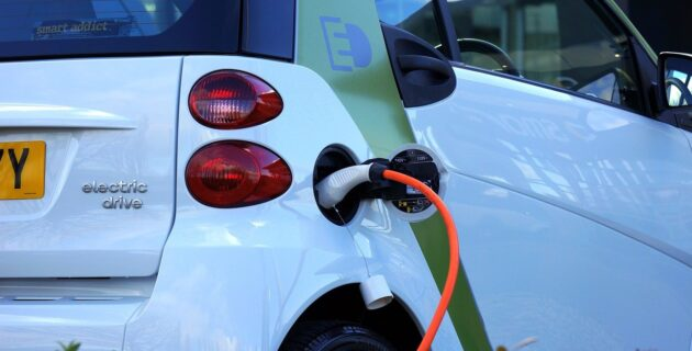 a charging electric car