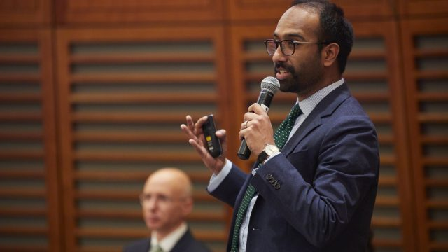 Dr. Gaurab Basu speaks at the Climate Change and Clinical Practice Symposium at Harvard Chan