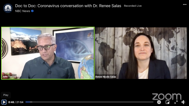 Screenshot of Zoom conversation with Dr. John Torres and Dr. Renee Salas