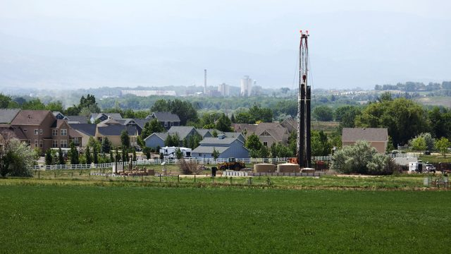 natural gas well rig in Frederick, CO