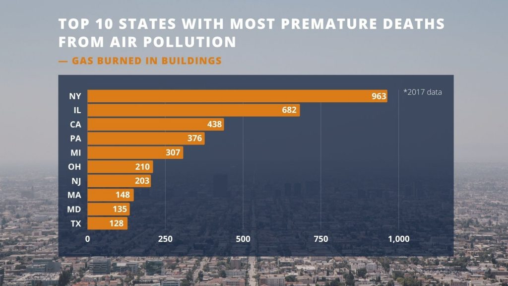 Bar Graph reflecting top 10 states with most premature deaths
