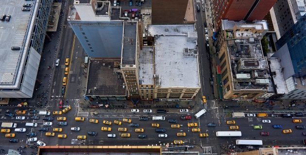 aerial view of nyc traffic
