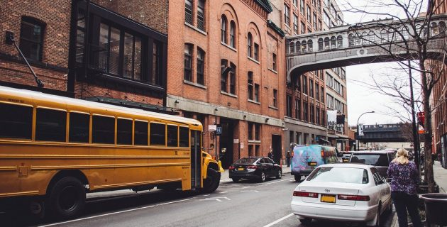 cars and buses on a New York city street