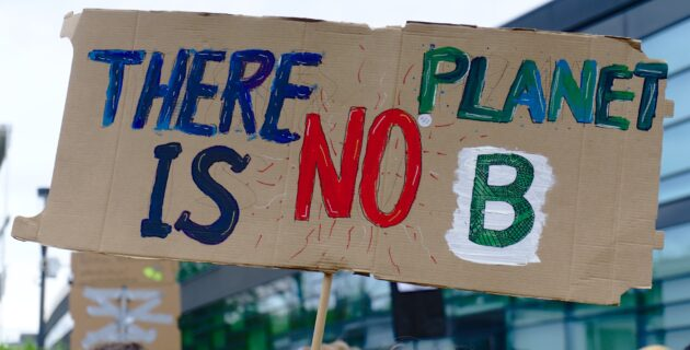 """Cardboard sign with the words """"There is no planet B."""""""