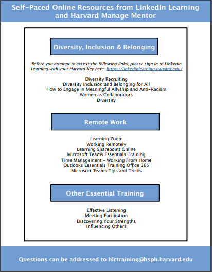 List of Self-Paced Resources Available for Staff to Take