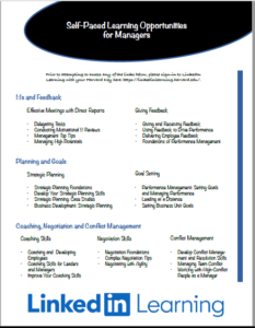 Managers list of recommended trainings to take