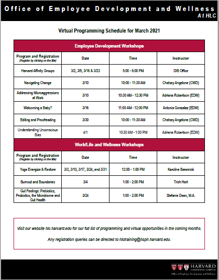 March Schedule of Workshops